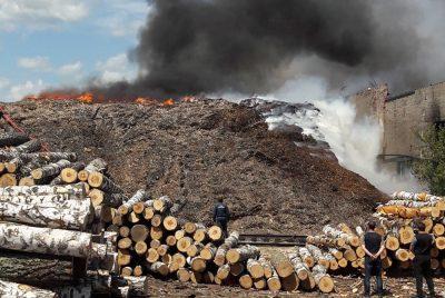 20 спасателей и пламя: фото ЧП на фанерном комбинате в Новокузнецке