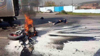 В Кузбассе произошло смертельное ДТП с грузовиком и мотоциклом