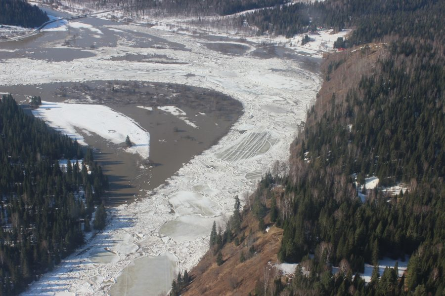 На юге Кузбасса из-за ледяного затора река вышла из берегов
